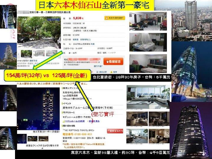 日本六本木仙石山全新第一豪宅 154萬/坪(32年) vs 125萬/坪(全新) (壁芯實坪 ) 24
