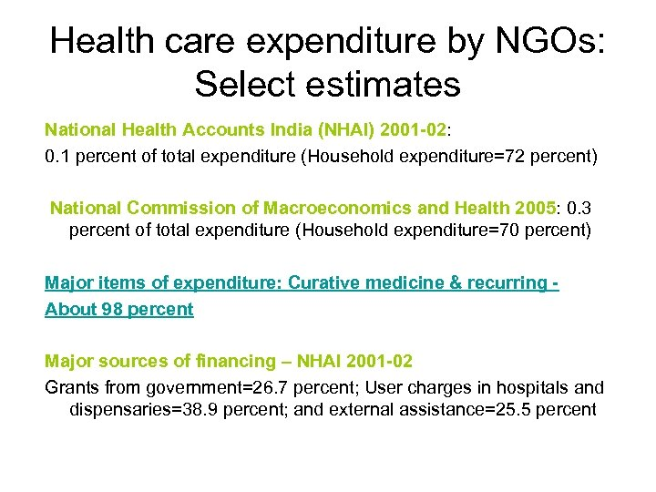 Health care expenditure by NGOs: Select estimates National Health Accounts India (NHAI) 2001 -02:
