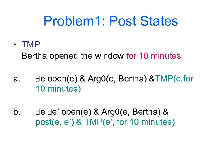 Problem 1: Post States • TMP Bertha opened the window for 10 minutes a.