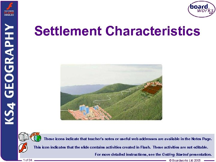 Settlement Characteristics These icons indicate that teacher s notes