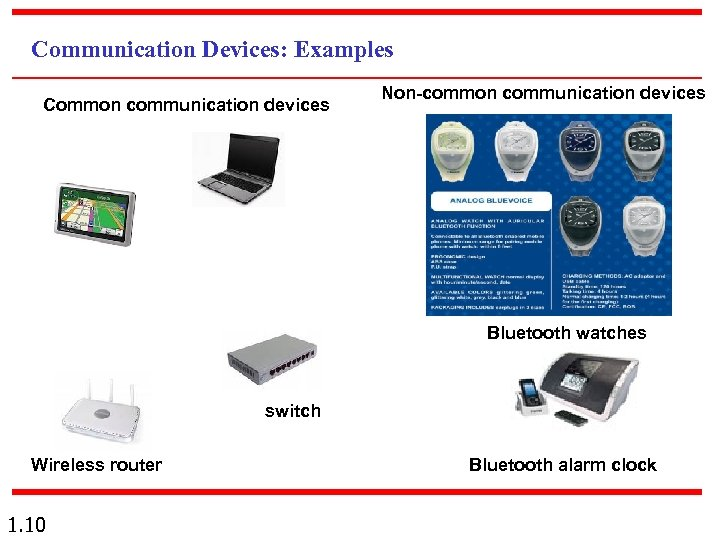 Communication Devices: Examples Common communication devices Non-common communication devices Bluetooth watches switch Wireless router