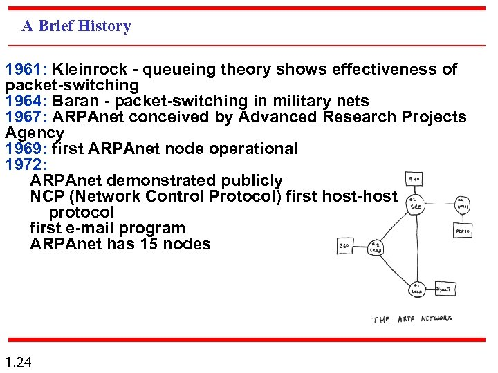 A Brief History 1961: Kleinrock - queueing theory shows effectiveness of packet-switching 1964: Baran