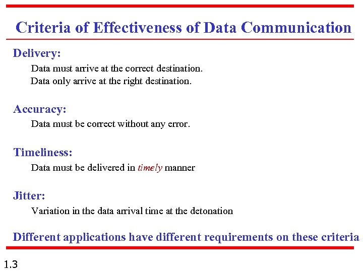 Criteria of Effectiveness of Data Communication Delivery: Data must arrive at the correct destination.