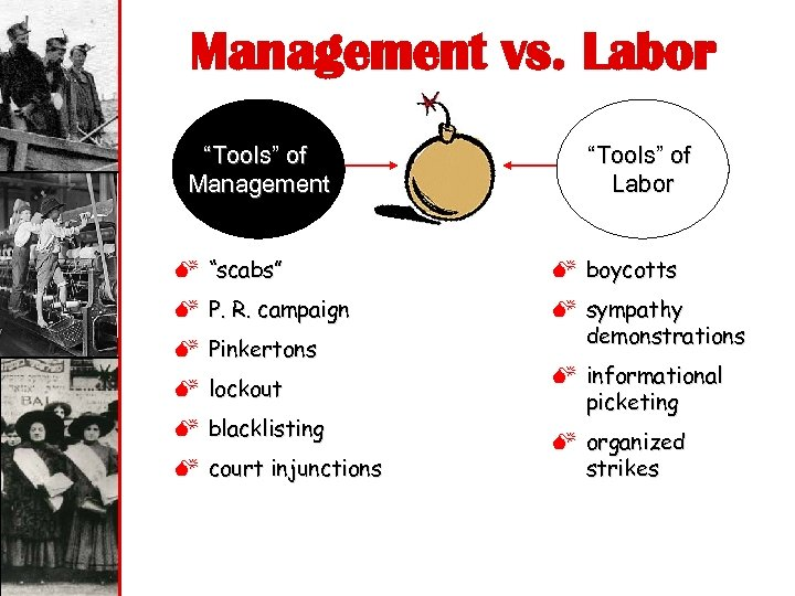"Management vs. Labor ""Tools"" of Management ""Tools"" of Labor M ""scabs"" M boycotts M"