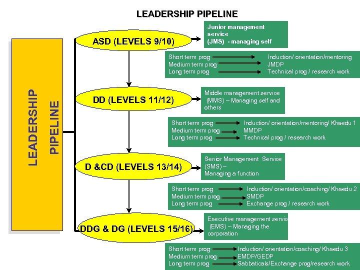 LEADERSHIP PIPELINE ASD (LEVELS 9/10) Junior management service (JMS) - managing self PIPELINE LEADERSHIP