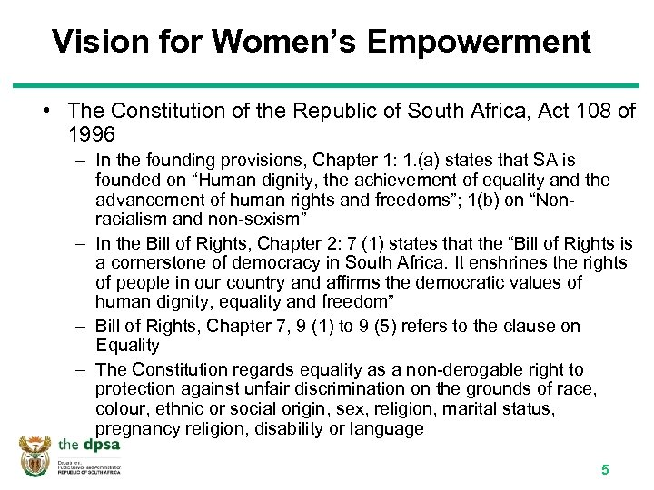 Vision for Women's Empowerment • The Constitution of the Republic of South Africa, Act