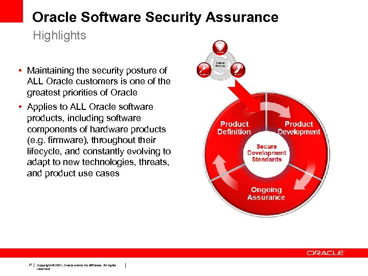 Oracle Software Security Assurance Highlights • Maintaining the security posture of ALL Oracle customers