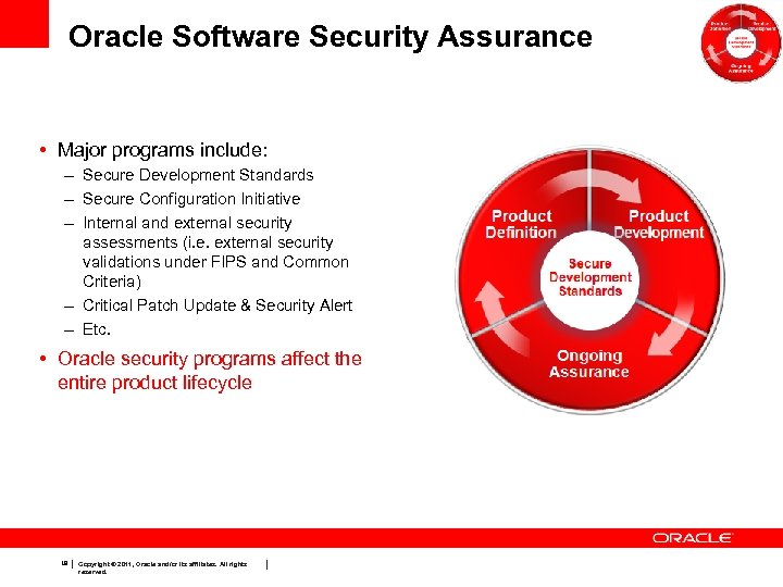 Oracle Software Security Assurance • Major programs include: – Secure Development Standards – Secure
