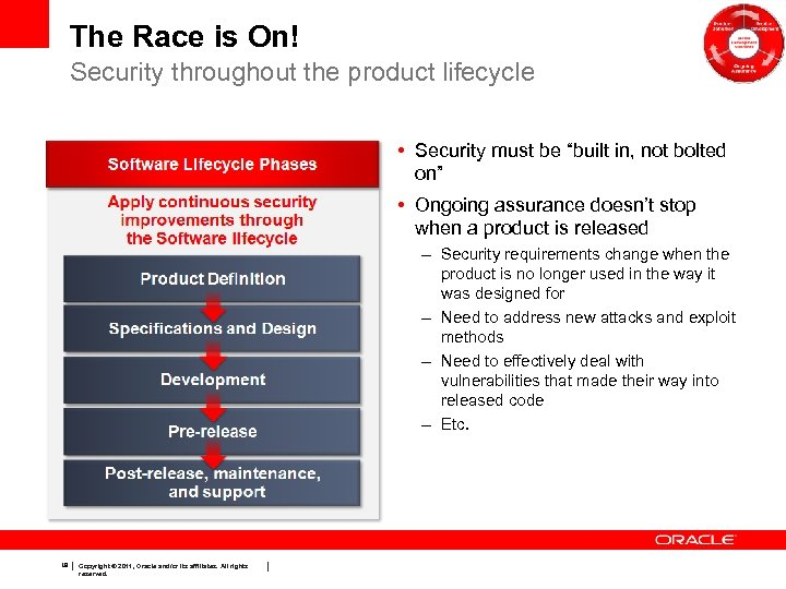 "The Race is On! Security throughout the product lifecycle • Security must be ""built"