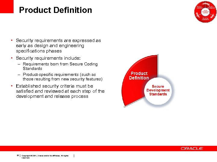 Product Definition • Security requirements are expressed as early as design and engineering specifications