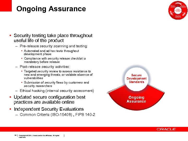 Ongoing Assurance • Security testing take place throughout useful life of the product –