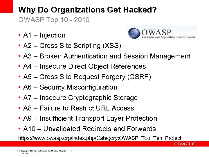 Why Do Organizations Get Hacked? OWASP Top 10 - 2010 • • • A