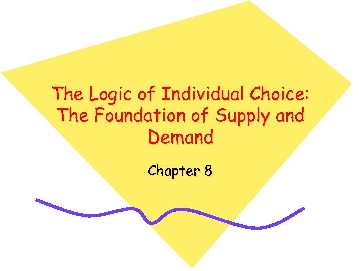 The Logic of Individual Choice: The Foundation of Supply and Demand Chapter 8