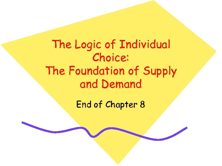 The Logic of Individual Choice: The Foundation of Supply and Demand End of Chapter