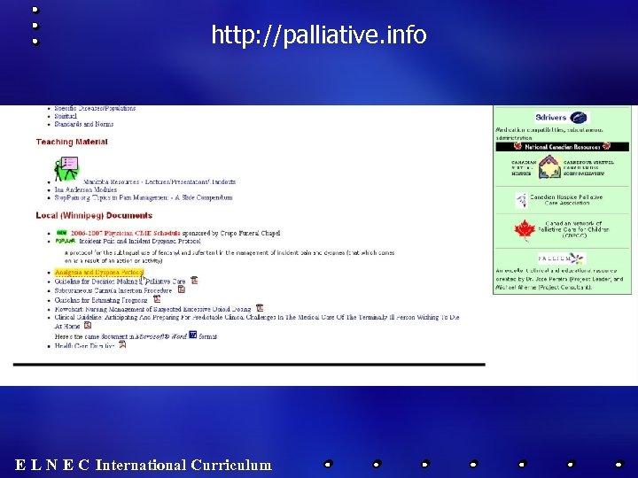 http: //palliative. info E L N E C International Curriculum