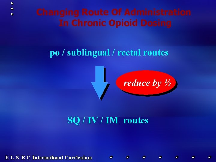 Changing Route Of Administration In Chronic Opioid Dosing po / sublingual / rectal routes