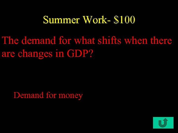 Summer Work- $100 The demand for what shifts when there are changes in GDP?