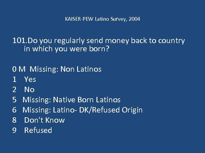 KAISER-PEW Latino Survey, 2004 101. Do you regularly send money back to country in