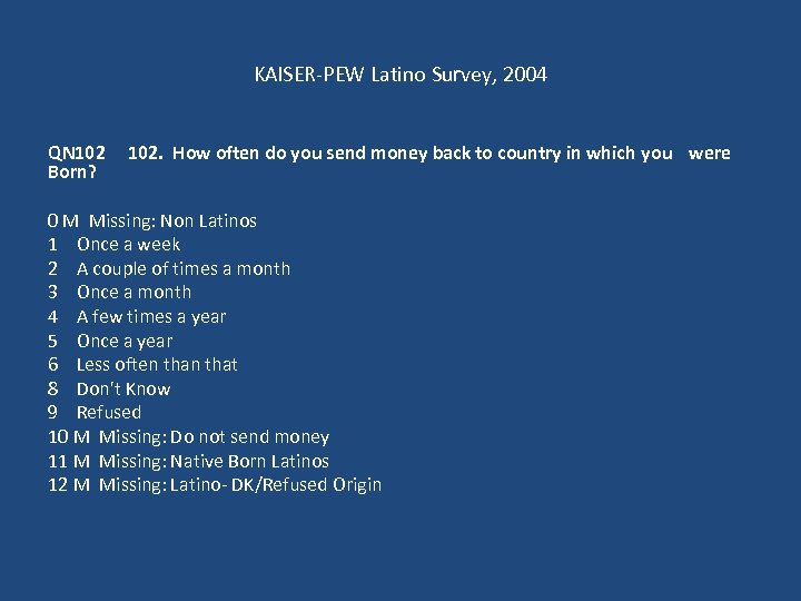 KAISER-PEW Latino Survey, 2004 QN 102 Born? 102. How often do you send money