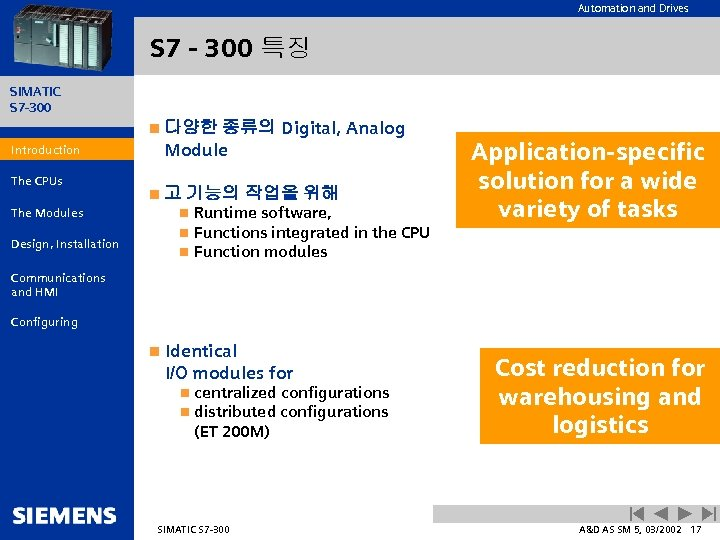 Automation and Drives S 7 - 300 특징 SIMATIC S 7 -300 종류의 Digital,