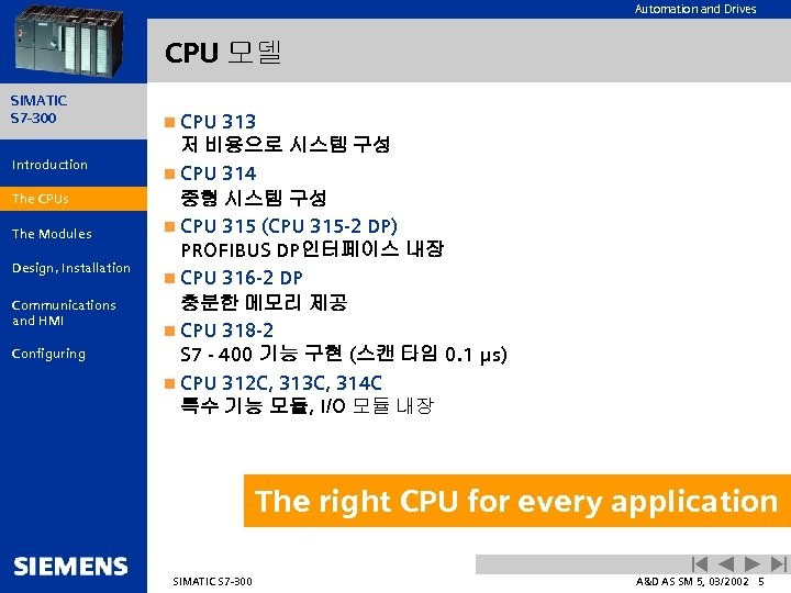 Automation and Drives CPU 모델 SIMATIC S 7 -300 Introduction The CPUs The Modules