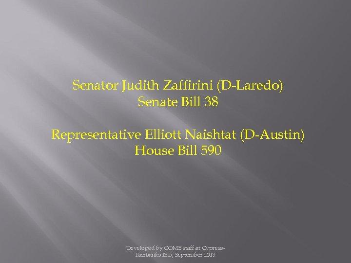 Senator Judith Zaffirini (D-Laredo) Senate Bill 38 Representative Elliott Naishtat (D-Austin) House Bill 590