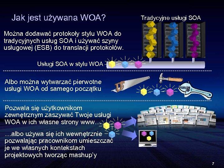 Jak jest używana WOA? Tradycyjne usługi SOA Można dodawać protokoły stylu WOA do tradycyjnych