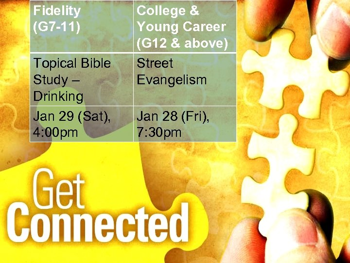Fidelity (G 7 -11) Topical Bible Study – Drinking Jan 29 (Sat), 4: 00