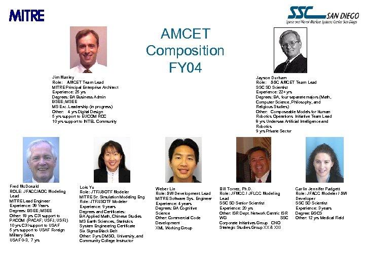 Jim Manley Role: AMCET Team Lead MITRE Principal Enterprise Architect Experience: 25 yrs Degrees: