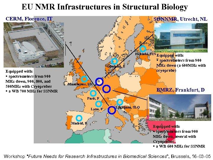 EU NMR Infrastructures in Structural Biology CERM, Florence, IT SONNMR, Utrecht, NL Helsinki, FIN