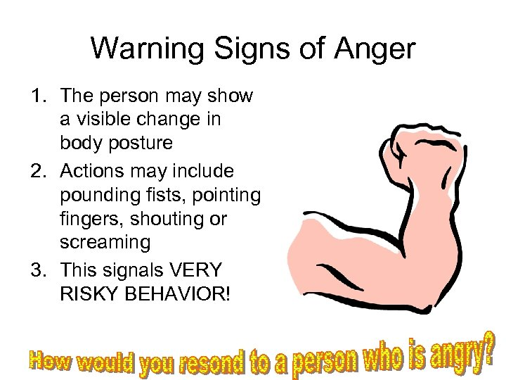 Warning Signs of Anger 1. The person may show a visible change in body