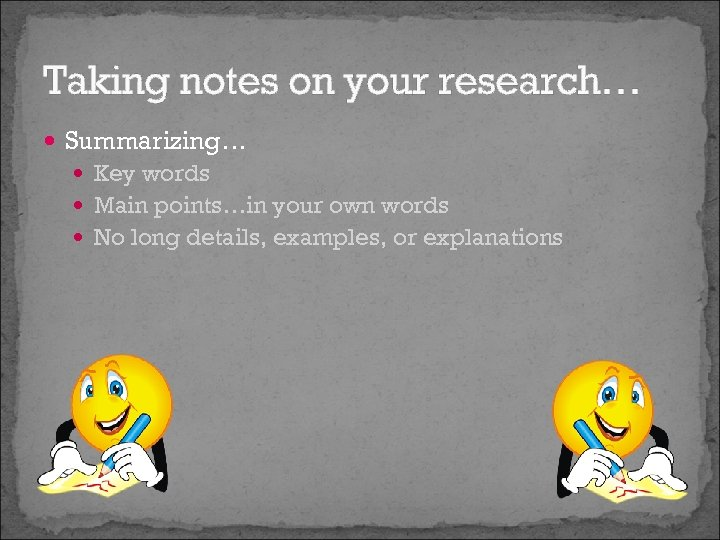 Taking notes on your research… Summarizing… Key words Main points…in your own words No