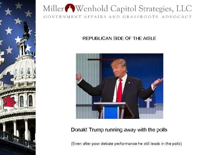 REPUBLICAN SIDE OF THE AISLE Donald Trump running away with the polls (Even