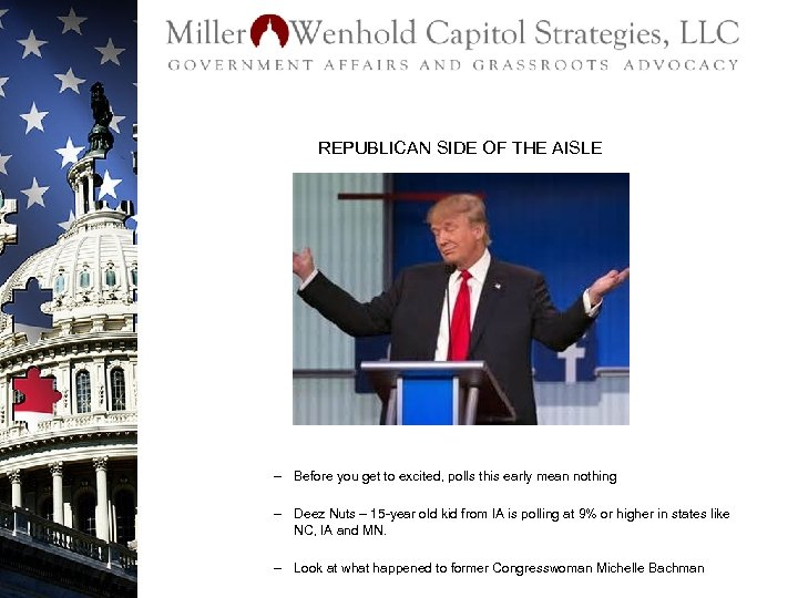 REPUBLICAN SIDE OF THE AISLE – Before you get to excited, polls this