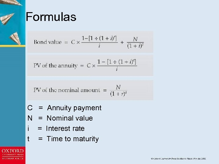 Formulas C N i t = = Annuity payment Nominal value Interest rate Time