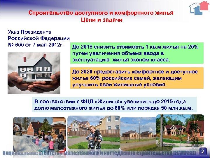 Строительство доступного и комфортного жилья Цели и задачи Указ Президента Российской Федерации № 600