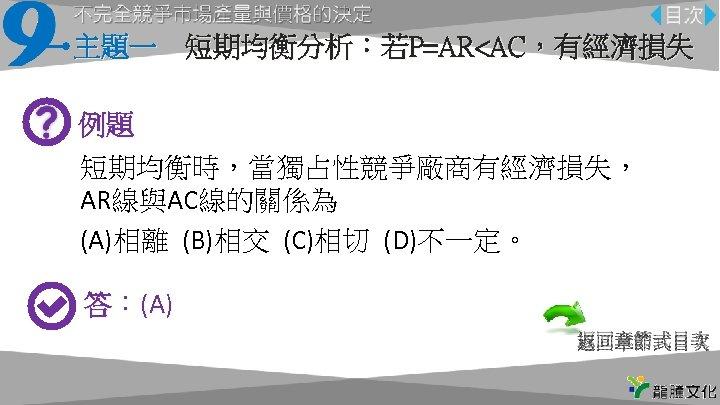 主題一 短期均衡分析:若P=AR<AC,有經濟損失 例題 短期均衡時,當獨占性競爭廠商有經濟損失, AR線與AC線的關係為 (A)相離 (B)相交 (C)相切 (D)不一定。 答:(A) 返回章節式目次