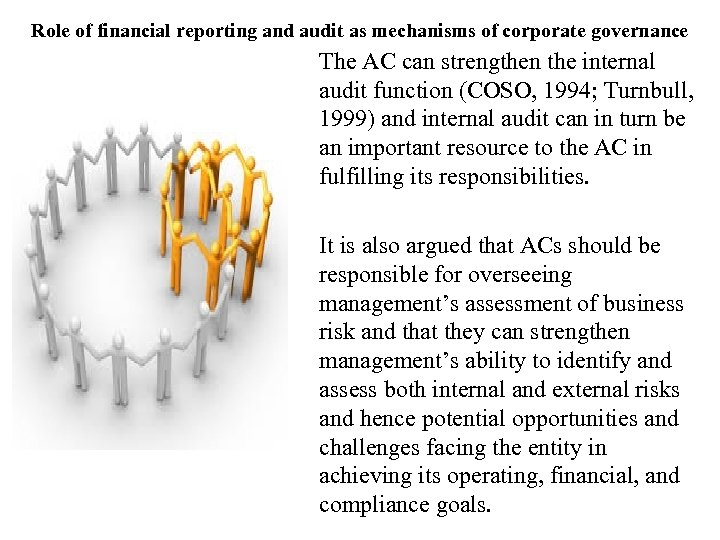 Role of financial reporting and audit as mechanisms of corporate governance The AC can