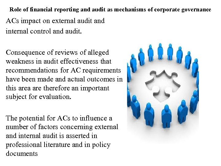 Role of financial reporting and audit as mechanisms of corporate governance ACs impact on