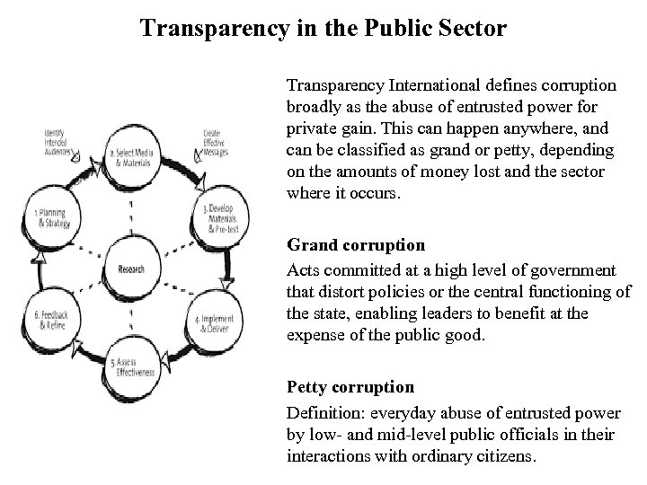 Transparency in the Public Sector Transparency International defines corruption broadly as the abuse of