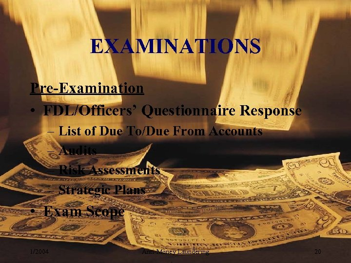 EXAMINATIONS Pre-Examination • FDL/Officers' Questionnaire Response – List of Due To/Due From Accounts –