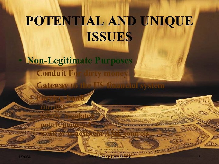 POTENTIAL AND UNIQUE ISSUES • Non-Legitimate Purposes – Conduit For dirty money – Gateway