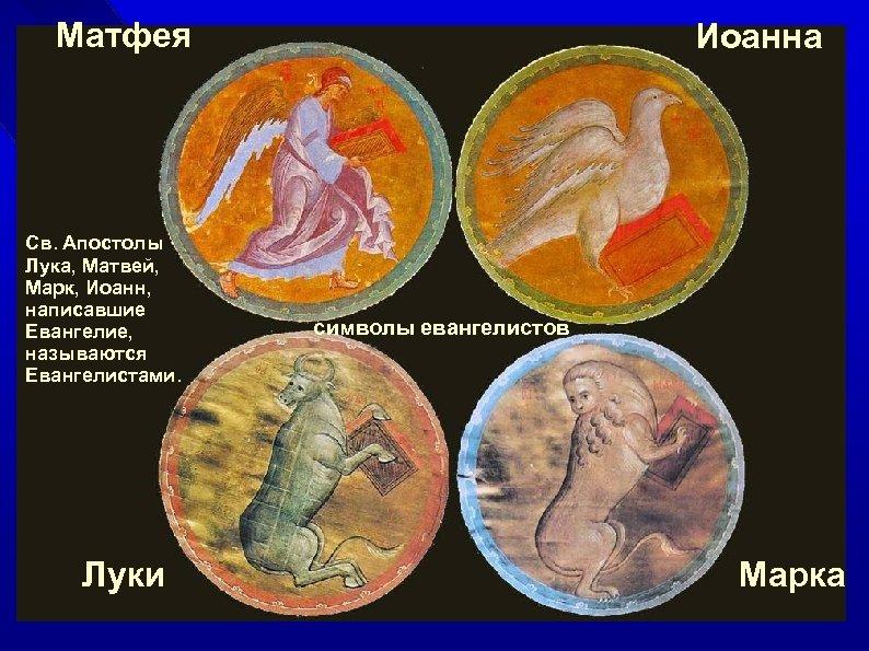 Матфея Св. Апостолы Лука, Матвей, Марк, Иоанн, написавшие Евангелие, называются Евангелистами. Луки Иоанна символы