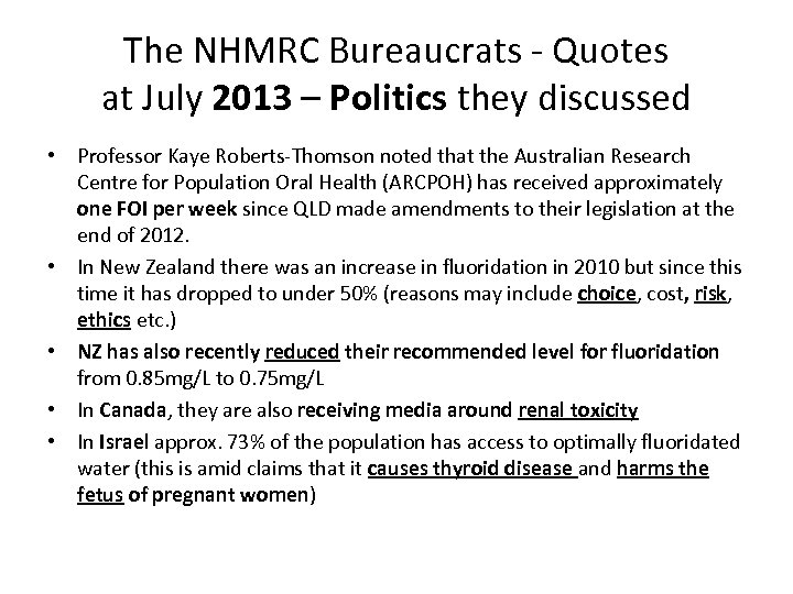 The NHMRC Bureaucrats - Quotes at July 2013 – Politics they discussed • Professor