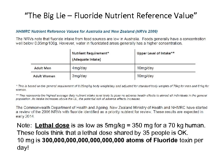 """The Big Lie – Fluoride Nutrient Reference Value"" Note: Lethal dose is as low"