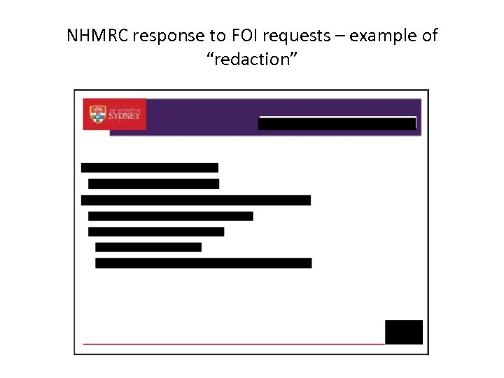 "NHMRC response to FOI requests – example of ""redaction"""