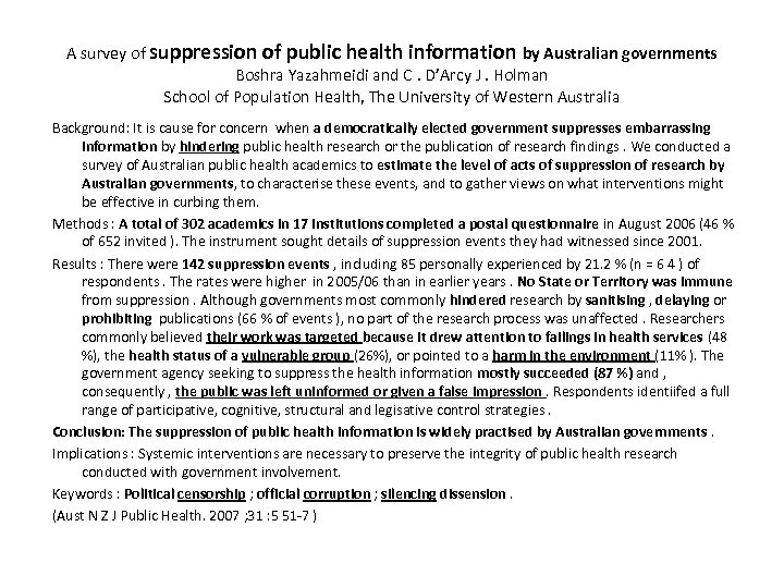 A survey of suppression of public health information by Australian governments Boshra Yazahmeidi and