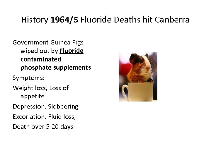 History 1964/5 Fluoride Deaths hit Canberra Government Guinea Pigs wiped out by Fluoride contaminated