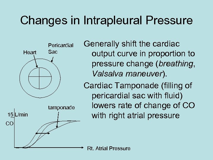 Changes in Intrapleural Pressure Heart Pericardial Sac tamponade 15 L/min Generally shift the cardiac