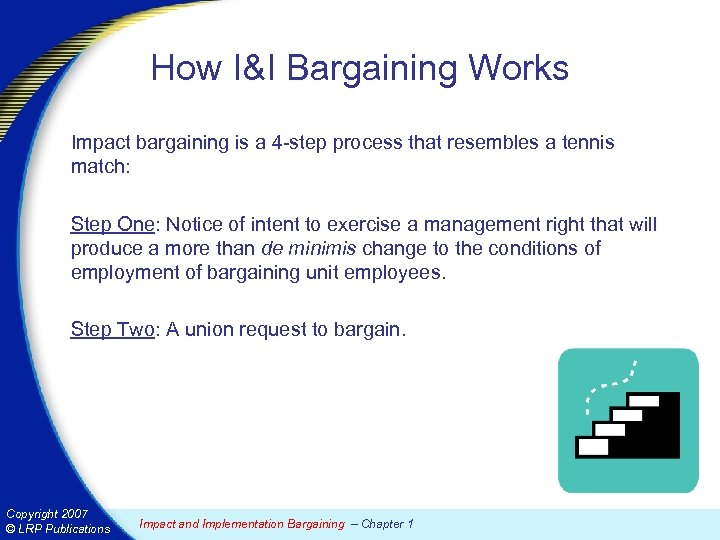 How I&I Bargaining Works Impact bargaining is a 4 -step process that resembles a